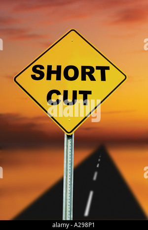 short cut road sign - Stock Photo