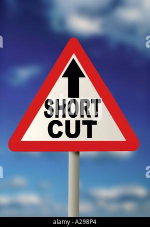 short cut road sign - Stock Photo