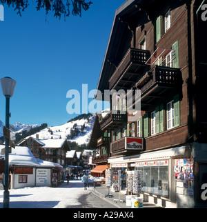 Shops in the resort centre, Murren, Swiss Alps, Switzerland - Stock Photo