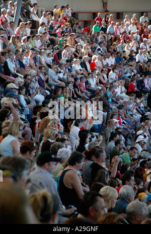 Audience at dolphin show Loro Parque Tenerife - Stock Photo
