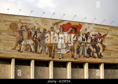 The Albanians mosaic on the facade of the National Historical Museum. Skanderbeg Square, Tirana, Albania, Europe - Stock Photo