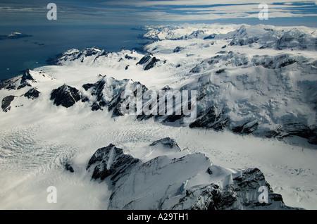 SOUTH GEORGIA ISLAND Aerial of Helland Glacier ANTARCTICA - Stock Photo