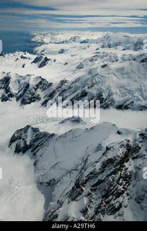 South Georgia Island, Antarctica,  Aerial of Helland Glacier below Mt Paget - Stock Photo