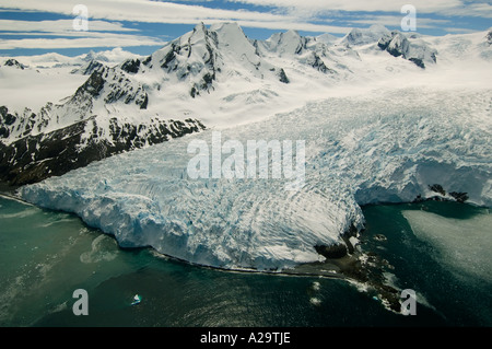SOUTH GEORGIA ISLAND, Antarctica, Aerial of Henningsen Glacier West slope of Mt Paget - Stock Photo