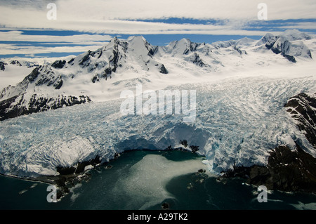 SOUTH GEORGIA ISLAND, Antarctica,  Aerial of Henningsen Glacier West slope of Mt Paget Date 9 December 2005 - Stock Photo