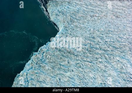 South Georgia Island Antarctica, Novosilski Glacier, Aerial of a tidewater Glacier, December 19 2005 - Stock Photo