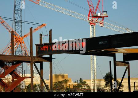 Valentine message painted on steel girder, construction site, Las Vegas, Nevada, USA. - Stock Photo