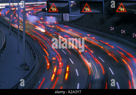 Germany Berlin three electric signs warn drivers that they are approaching a traffic jam on the Stadtring autobahn - Stock Photo