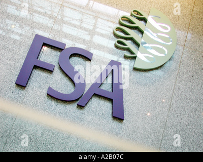 Inside the foyer of the FSA, Financial Services Authority Offices, Canary Wharf, Isle of Dogs, London E14, showing - Stock Photo