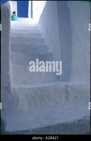 Greek Stairs Steps, Santorini, Greece - Stock Photo