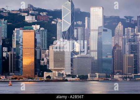 Dawn view across Victoria Harbour to Hong Kong Island, Hong Kong, China