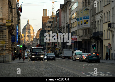 Rue Royale, with Saint Maria church in the distance, Brussels, Belgium - Stock Photo