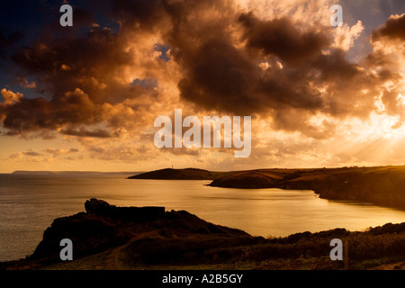 Sunset over the Fowey Estuary from Polruan looking to Gribbin Head, Cornwall, England, UK - Stock Photo