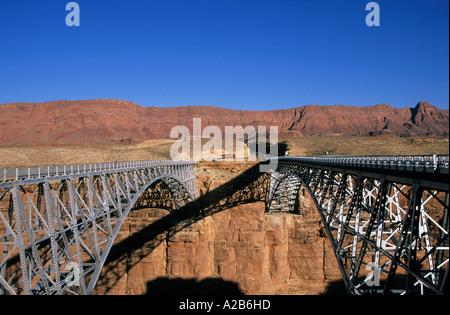 USA Arizona Vermillion Cliffs Marble Canyon bridges Colorado River - Stock Photo