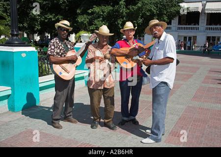 Traditional Cuban band, Parque Cespedes, Santiago de Cuba, Cuba - Stock Photo