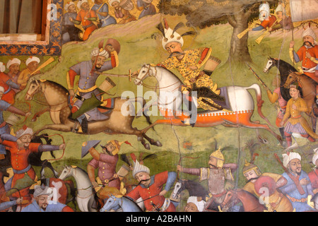 Fresco at Chehel Sotoun palace showing the battle between Shah Esmaeel Safavid and Sheibak Khan the Uzbek, Isfahan, - Stock Photo