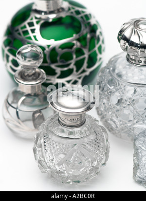 Old Vintage Perfume Bottle Collection early 20th century - Stock Photo