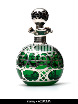 An American Overlay Silver and Green Glass Perfume Bottle early 1900s - Stock Photo