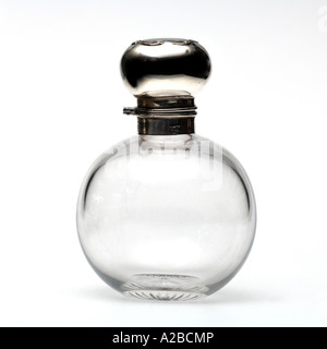 A Silver and Glass Perfume Bottle early 1900s - Stock Photo