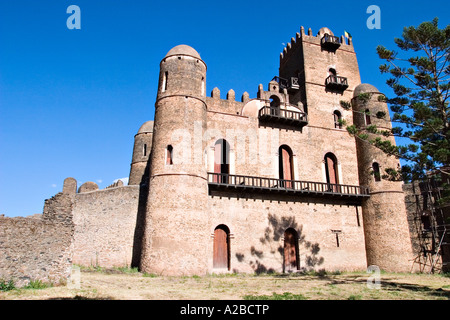 Fasil Ghebbi compound, palace of emperor Fasilides (Fasil), Gondar, Ethiopia, Africa - Stock Photo
