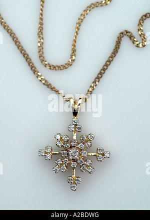 Vintage Diamond and Gold Necklace with Dangle - Stock Photo