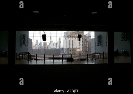 View of Columbus Circle in New York City from Time Warner Lincoln Center Allen Room spring 2005 - Stock Photo