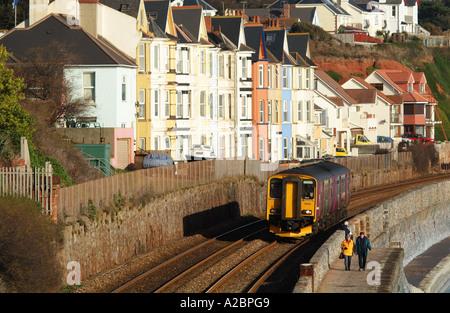single carriage passenger train at Dawlish seaside resort Devon west country England UK - Stock Photo