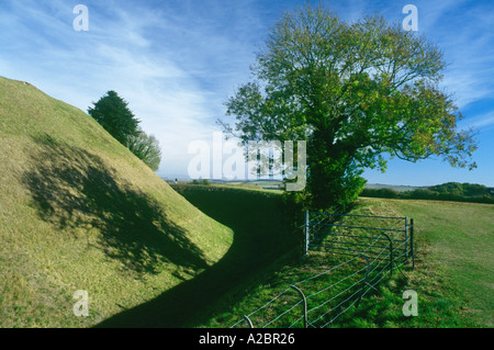 Old Sarum hill fort near Salisbury England - Stock Photo