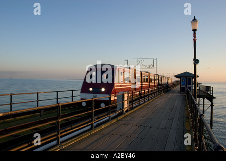 Railway on southend pier Southend on sea Essex - Stock Photo