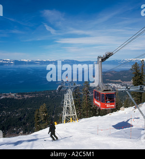 Aerial Tramway at the Heavenly Ski Area, Lake Tahoe, California/Nevada, USA - Stock Photo