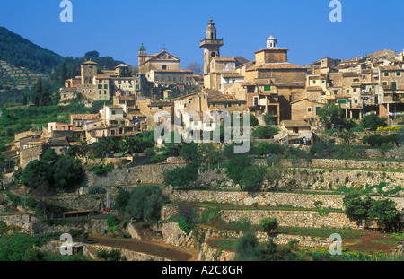 Valldemossa in the Tramuntana Mountains on the Island of Majorca - Stock Photo
