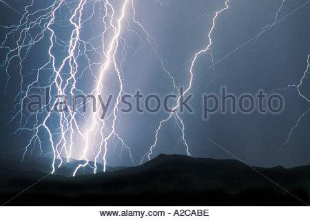 Severe Lightning storm on Rincon Mountain  Range Tucson Arizona - Stock Photo