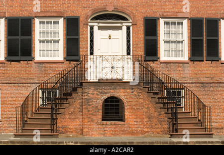 Front door and staircases of the Federal Style Isaiah Davenport House in Columbia Square Savannah - Stock Photo