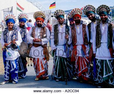 Indian performers, Royal International Pavilion, International Musical Eisteddfod, Llangollen, Denbighshire, Wales - Stock Photo