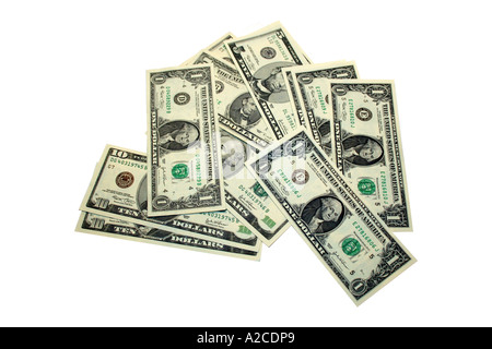 A mixture of one dollar bills - Stock Photo