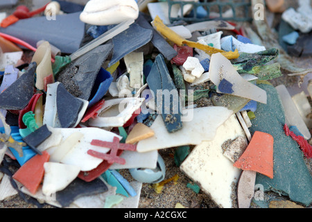 Sample of waste plastics washed up on a beach - Stock Photo