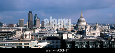 high level panoramic view of the city of london showing saint pauls the old bailey tower 42 and the gherkin - Stock Photo