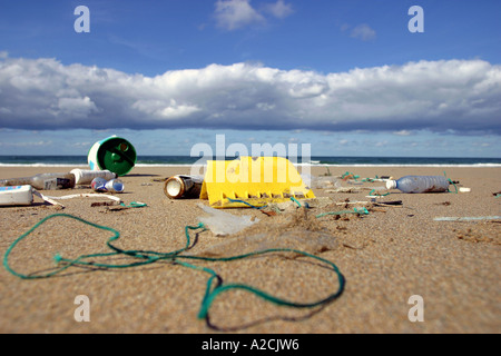 Rubbish washed up on a beach Cornwall UK - Stock Photo