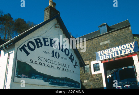 Tobermory Distillery produces single malt Scotch whisky  Tobermory Isle of Mull island Inner Hebrides Argyll Scotland - Stock Photo