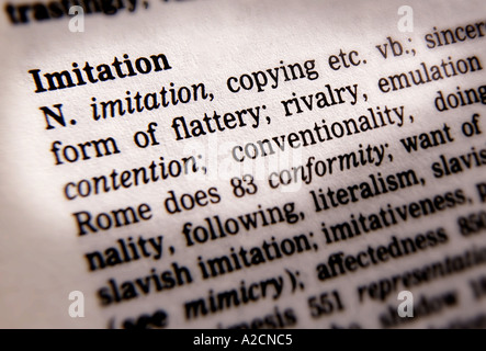 THESAURUS PAGE SHOWING DEFINITION OF WORD IMITATION - Stock Photo
