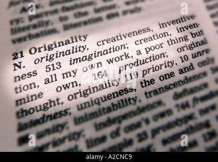 THESAURUS PAGE SHOWING DEFINITION OF WORD ORIGINALITY - Stock Photo