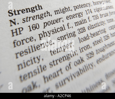 THESAURUS PAGE SHOWING DEFINITION OF WORD STRENGTH - Stock Photo