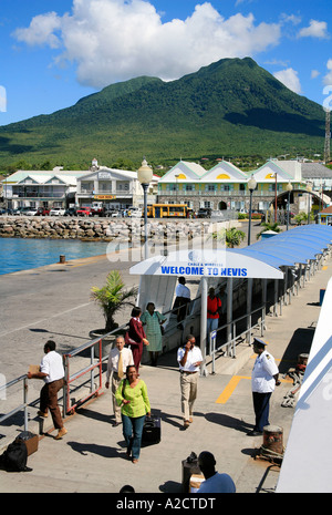 Harbour and Town of Charlestown at Nevis in the Caribbean - Stock Photo