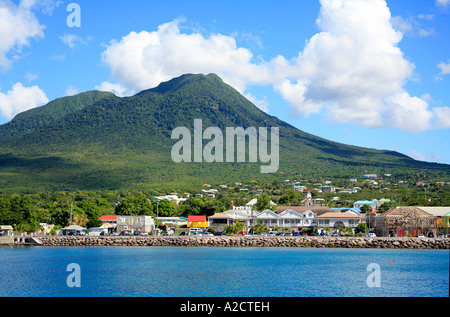 Town of Charlestown at Nevis in the Caribbean - Stock Photo