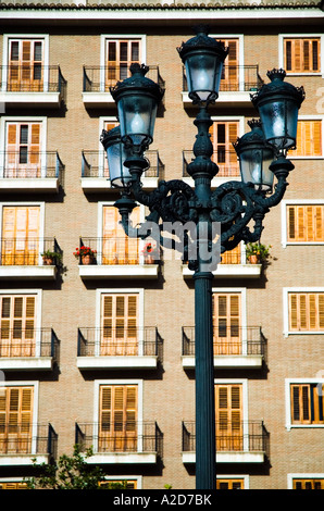 Street lamp in Valencia on the Plaza de la Virgen - Stock Photo