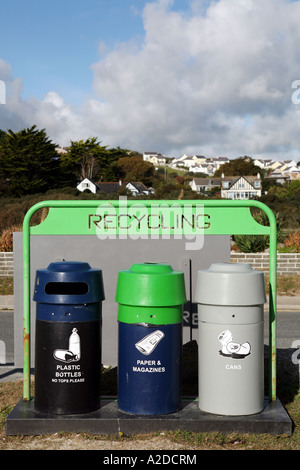 Recycling area, Swanpool Beach, Falmouth, Cornwall, UK - Stock Photo