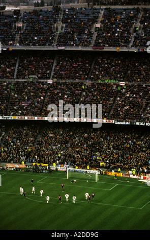 FC Barcelona scoring a goal, Camp Nou stadium, Catalonia, Spain. - Stock Photo