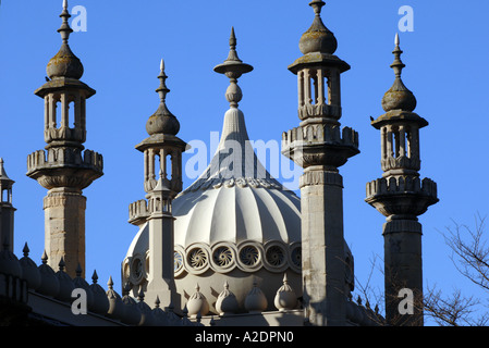 The domes and minarets of the Prince Regents Palace The Royal Pavilion Brighton East Sussex - Stock Photo