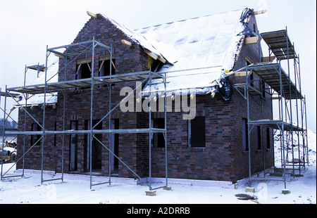 House under construction in the German town of Belm near Osnabruck, Lower Saxony. - Stock Photo