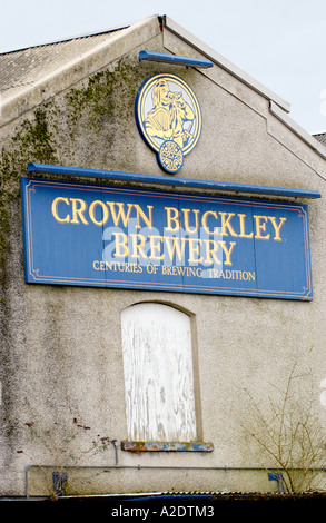 Former Crown Buckley Brewery boarded up and derelict in Llanelli Carmarthenshire Wales UK - Stock Photo